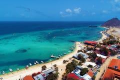 Los Roques, mar del Caribe Paisaje fantástico Gran escena de la playa fotografía de archivo