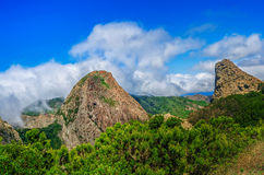 Los Roques & x28; Rocks& x29; 戈梅拉岛,加那利群岛,西班牙 免版税图库摄影