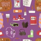 Los símbolos artísticos yarnbombing del arte de la calle de la pintura de espray del grunge de los accesorios del artista del inc ilustración del vector