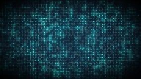 Los símbolos azules brillantes del ordenador que brillan intensamente aparecen en rejilla de la secuencia de datos de la tecnolog ilustración del vector