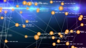 Los símbolos conectados de movimiento lento del bitcoin con dinámico desmenuzan stock de ilustración