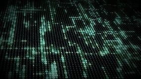 Los símbolos crypto azules brillantes de la moneda que brillan intensamente aparecen en rejilla de la secuencia de datos de las m libre illustration