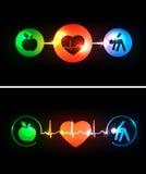 Los símbolos de la atención sanitaria de la cardiología conectados con oyen ilustración del vector