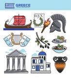 Los símbolos de la señal del turismo del viaje de Grecia y las atracciones turísticas griegas de la cultura vector iconos Imágenes de archivo libres de regalías
