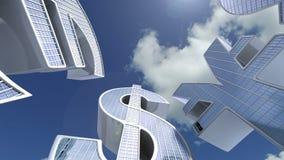 Los símbolos de moneda euro, dólar, libra, yen les gusta edificios del negocio Centro financiero conceptual Animación del negocio libre illustration