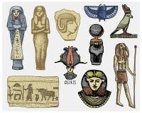 Los símbolos, el pharaon, el scorob, los jeroglíficos y los osiris egipcios dirigen, vintage de dios, mano grabada dibujada en bo stock de ilustración
