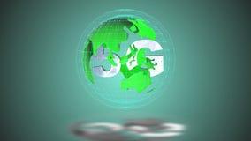 Los símbolos 5g giran dentro del modelo de tierra, el lazo video stock de ilustración