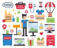 Los símbolos humanos de la ayuda del dinero de la donación del concepto de la caridad donan al hombre que lleva a cabo las finanz ilustración del vector