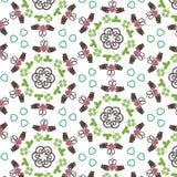Los símbolos irlandeses hexagonales geométricos coloridos diseñan el fondo con el anillo, los espirales, los corazones y los tréb stock de ilustración