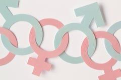 Los símbolos masculinos y femeninos del género encadenaron juntos - relatio del género Fotos de archivo