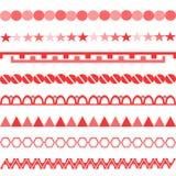Los símbolos rojos adornan el modelo simétrico vertical geométrico stock de ilustración