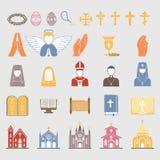 Los símbolos tradicionales de la Sagrada Biblia del ejemplo plano de los iconos del vector de la religión del cristianismo miran  stock de ilustración