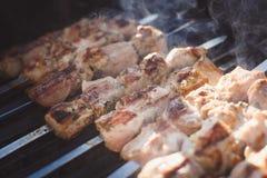Los saftige Kebabs auf dem Grill Lizenzfreies Stockfoto