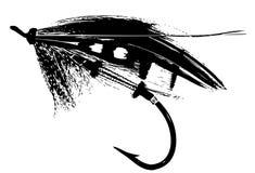 Los salmones artificiales vuelan el retrato de la pesca con mosca de la silueta Imagenes de archivo