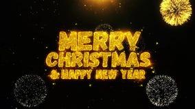 Los saludos de los deseos de la Feliz Navidad y del Año Nuevo, invitación, fuego artificial de la celebración colocaron