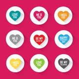 Los saludos del amor en corazón fijaron - diseño plano del vector Foto de archivo