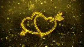 Los saludos del coraz?n del amor del d?a de tarjeta del d?a de San Valent?n resumen la part?cula de oro del centelleo colocada libre illustration