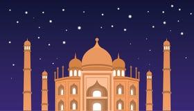 Los saludos felices de Eid Mubarak y celebran la mezquita en la noche Fotos de archivo libres de regalías