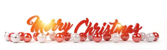 Los saludos y las chucherías de la Feliz Navidad se alinearon la representación 3D Imagen de archivo libre de regalías