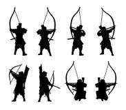 los Samurai-arqueros siluetean el sistema aislado en un vector fotos de archivo