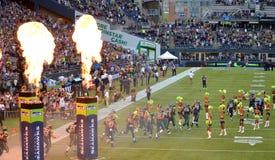 Los Seattle Seahawks toman el campo foto de archivo