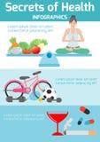 Los secretos de la salud, salud inclinan para usted, yoga, ejercicio, comidas sanas, meditando, jefe de la bandera, concepto de l stock de ilustración
