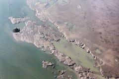Los sedimentos estructuran en la presa de Cunovo en el río Danubio Foto de archivo libre de regalías