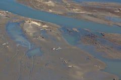 Los sedimentos estructuran en la presa de Cunovo en el río Danubio Fotografía de archivo libre de regalías