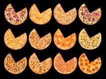 Los segmentos de las pizzas cortaron el sistema Foto de archivo