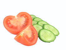 Los segmentos del pepino y del tomate del corte Fotografía de archivo