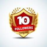 Los seguidores de oro 10K le agradecen diseñar el logotipo, la plantilla de la muestra por red social y el seguidor El usuario de Imagenes de archivo
