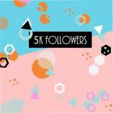 los seguidores 5k cardan la plantilla de la bandera para celebrar muchos seguidores en medias redes sociales en línea ilustración del vector
