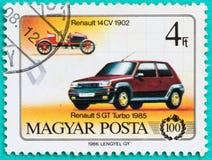 Los sellos con impreso en Hungría muestran el coche Imagen de archivo libre de regalías