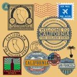 Los sellos fijaron con el nombre de California, Estados Unidos Imagenes de archivo