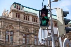 Los semáforos con la luz verde se encendieron con la mujer dos en amor Pares homosexuales en amor en muestra Concepto de toleranc imágenes de archivo libres de regalías