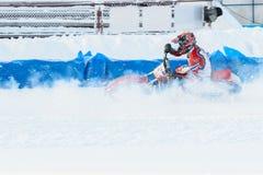 Los semi-finales del campeonato ruso en Ufa en un carretera el hielo en diciembre de 2016 Fotos de archivo libres de regalías