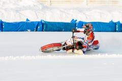 Los semi-finales del campeonato ruso en Ufa en un carretera el hielo en diciembre de 2016 Imagen de archivo libre de regalías