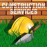 Los servicios de la construcción representan el ejemplo del trabajo 3d del edificio ilustración del vector