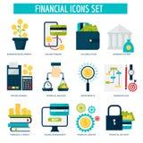 Los servicios financieros del dinero de actividades bancarias fijaron servicio en línea de la acumulación del desarrollo de la mu Foto de archivo libre de regalías