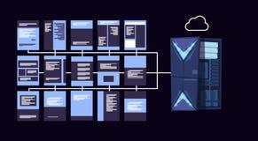 Los servidores de la nube de la protección de datos se centran con el recibimiento infographic, la red y la base de datos, centro ilustración del vector