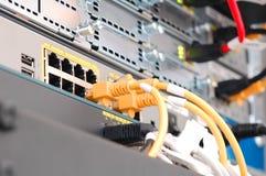 Los servidores del Internet conectaron con los cables de lan con el Web Foto de archivo