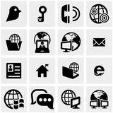 Los servidores, iconos del vector de la red fijaron en gris Fotos de archivo