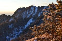 Los Shan nevados de Chilai de las montañas de Qilai se extienden en Taiwán en el amanecer Imagen de archivo libre de regalías
