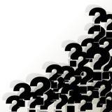 Los signos de interrogación se ennegrecen en la esquina en un fondo blanco ilustración del vector