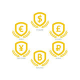 Los símbolos de monedas euro de Yen Yuan Bitcoin Ruble Pound Mainstream del dólar en el escudo firman Isolat gráfico de la planti Imagen de archivo