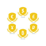 Los símbolos de monedas euro de Yen Yuan Bitcoin Ruble Pound Mainstream del dólar en el escudo firman Isolat gráfico de la planti Imágenes de archivo libres de regalías