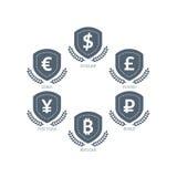 Los símbolos de monedas euro de Yen Yuan Bitcoin Ruble Pound Mainstream del dólar en el escudo firman Isolat gráfico de la planti Imagenes de archivo