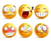 Los smiley vector el sistema Cara o emoticons sonrientes amarillos con expresiones faciales stock de ilustración