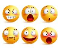 Los smiley vector el sistema Emoticons sonrientes de la cara o del amarillo con expresiones faciales stock de ilustración