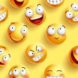 Los smiley wallpaper el modelo inconsútil del vector en color amarillo con las caras felices continuas Imagen de archivo